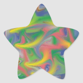 Cool abstract colorful pattern star sticker
