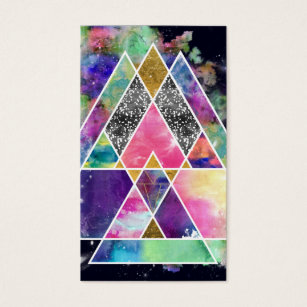 Diamond shaped business cards templates zazzle cool abstract geometric triangles watercolor business card colourmoves