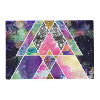 Cool abstract geometric triangles watercolor placemat