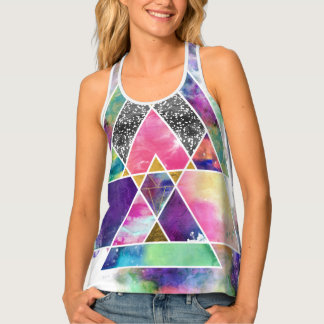 Cool abstract geometric triangles watercolor tank top