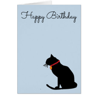 Cool Abstract Lilac Cat Birthday Card