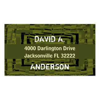 Cool abstract masculin army green business card