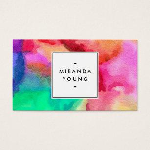 Multi colored business cards templates zazzle cool abstract multi color watercolors ii business card colourmoves