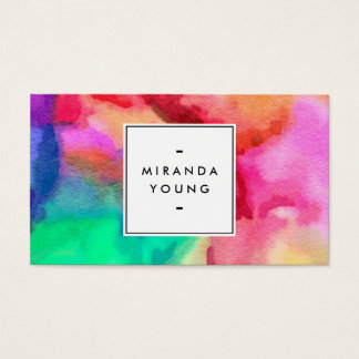 Cool Abstract Multi-color Watercolors II Business Card