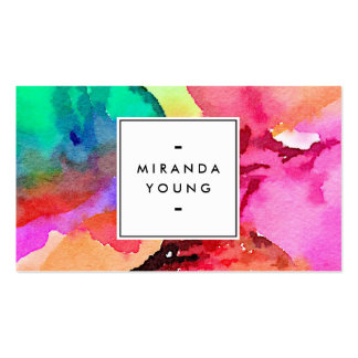 Cool Abstract Multi-color Watercolors II Double-Sided Standard Business Cards (Pack Of 100)