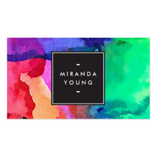 Cool Abstract Multi-color Watercolors III Modern Double-Sided Standard Business Cards (Pack Of 100)