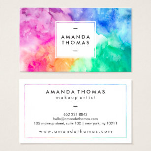 Multi colored business cards templates zazzle cool abstract multi color watercolors modern art business card colourmoves