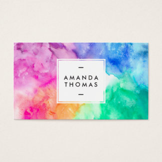 Cool abstract multi color watercolors modern art business card