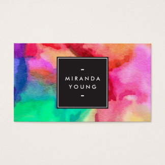 Cool Abstract Multi-color Watercolors Modern Business Card