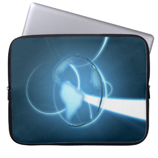 COOL ABSTRACT PLANET EARTH CYAN COMPUTER SLEEVE