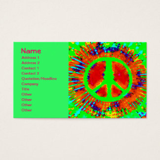 Cool Abstract Psychedelic Tie-Dye Peace Sign Business Card