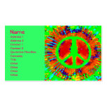 Cool Abstract Psychedelic Tie-Dye Peace Sign Double-Sided Standard Business Cards (Pack Of 100)