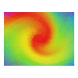 Cool Abstract Rainbow Wave Art Postcard