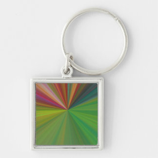 Cool Abstract Rays Silver-Colored Square Keychain
