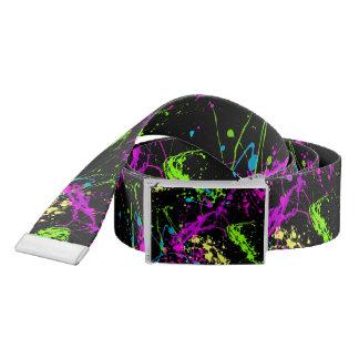 Cool Abstract Retro Rainbow Paint Splatter Black Belt