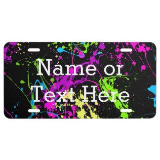 Cool Abstract Retro Rainbow Paint Splatter Black License Plate