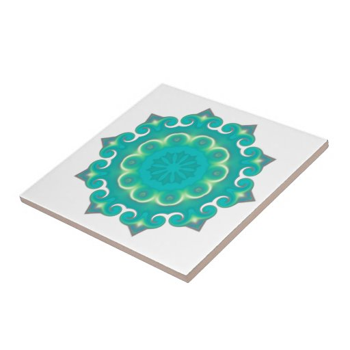 Cool Abstract Teal Kaleidoscope 'Winter Snowflake Ceramic Tile