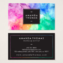 Cool abstract watercolor chic modern makeup artist business card