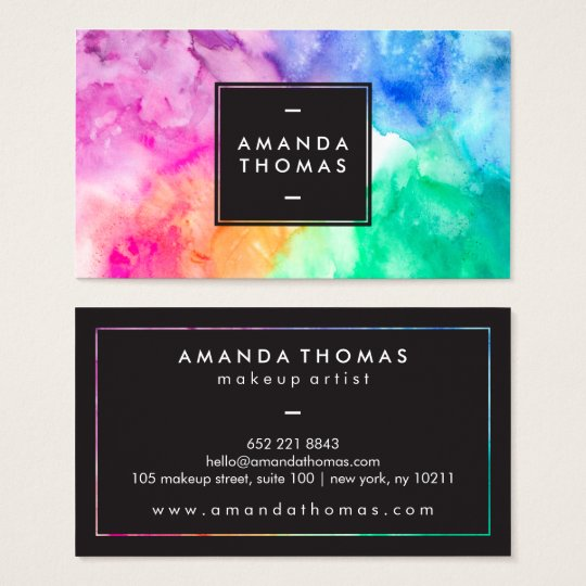 Makeup artist business cards zazzle cool abstract watercolor chic modern makeup artist business card reheart Choice Image