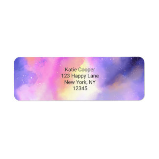 Cool Abstract Watercolor Cosmic Space Design Label