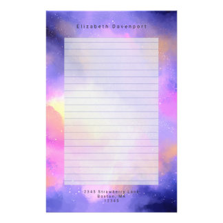 Cool Abstract Watercolor Cosmic Space Design Lined Stationery