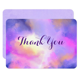 Cool Abstract Watercolor Space Design Thank You Card