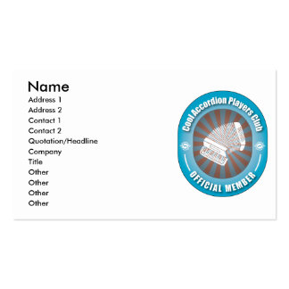 Cool Accordion Players Club Business Card