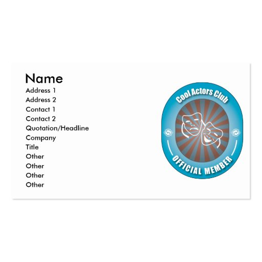 Cool Actors Club Double-Sided Standard Business Cards (Pack Of 100)