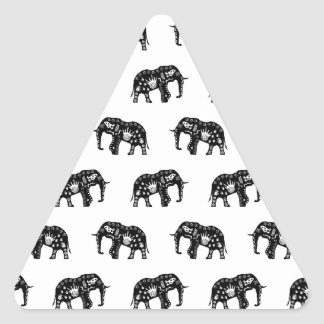 Cool Africa Pattern Elephant Picture Triangle Sticker
