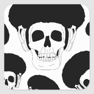 Cool Afro Skull design Square Stickers