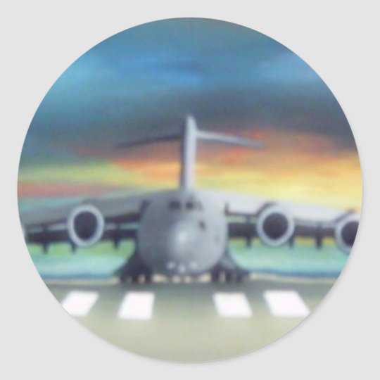 cool airplane classic round sticker
