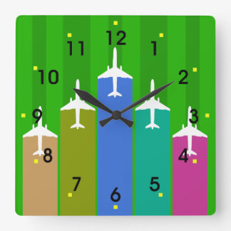 Cool Airplane Jetstream Flight Trails Square Wall Clock