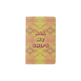 "Cool ""All My Ships"" Yellow Peach Tribal Pattern Pocket Moleskine Notebook"
