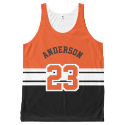 Cool All Sport Name, Number & Team - Orange All-Over-Print Tank Top