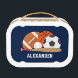 """Cool All Star Sports Lunch Box<br><div class=""""desc"""">CLICK ON CUSTOMIZE IT! TO CHANGE BACKGROUND COLOR.    Fun custom design with a sports theme. Personalize it with a name or any text of your choice for a one of a kind design.</div>"""