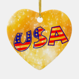 Cool America Flag letters trendy gold background Ceramic Ornament