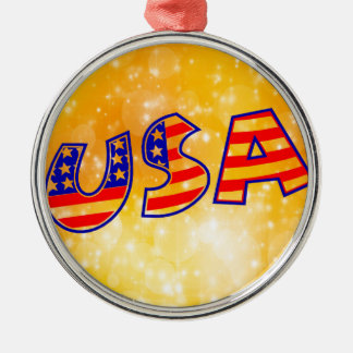Cool America Flag letters trendy gold background Metal Ornament