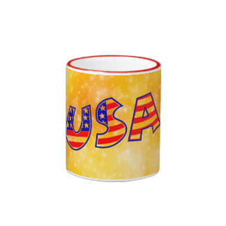 Cool America Flag letters trendy gold background Ringer Coffee Mug