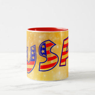 Cool America Flag letters trendy gold background Two-Tone Coffee Mug