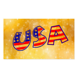 Cool America Flag letters trendy gold bright Business Card Template