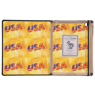 Cool America Flag letters trendy gold bright iPad Folio Cases