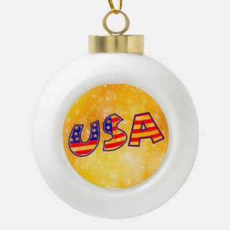 Cool America Flag letters trendy gold bright Ceramic Ball Christmas Ornament