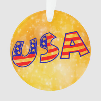 Cool America Flag letters trendy gold bright Ornament