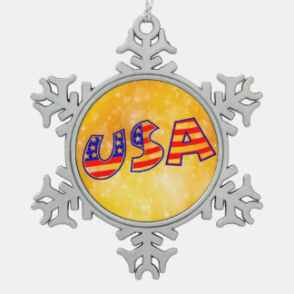 Cool America Flag letters trendy gold bright Snowflake Pewter Christmas Ornament