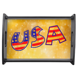 Cool America Flag  trendy gold bright background Serving Tray