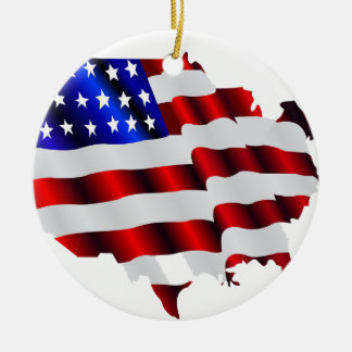 Cool America, US/USA, SAD flag, Sochi games Double-Sided Ceramic Round Christmas Ornament