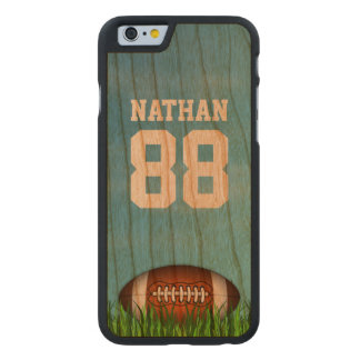 Cool American Football on the Grass Custom Name Carved Cherry iPhone 6 Slim Case