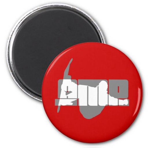 Cool amp snowboarding 2 inch round magnet