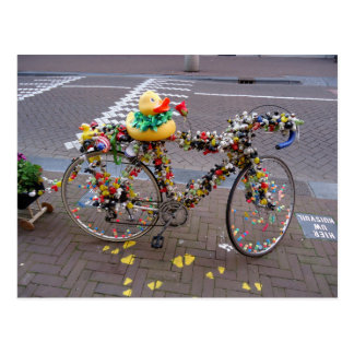 Cool Amsterdam Bicycle with the Yellow Duck Post Card