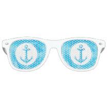 Cool Anchor   Blue Watercolor Paint Background Retro Sunglasses